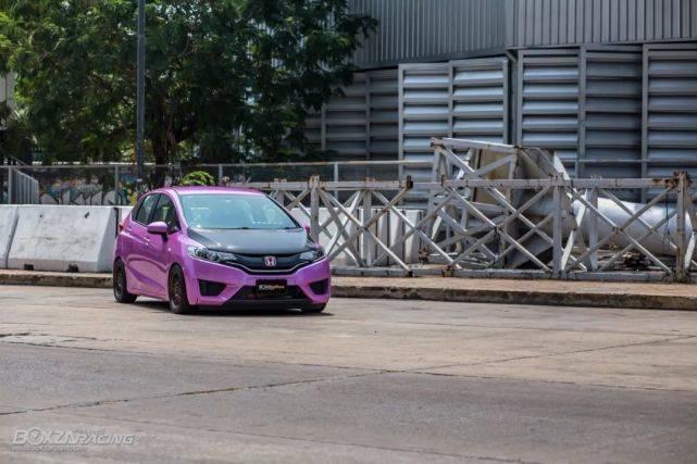 粉紫色的飞度GK5搭配的竟然是性能改装o26