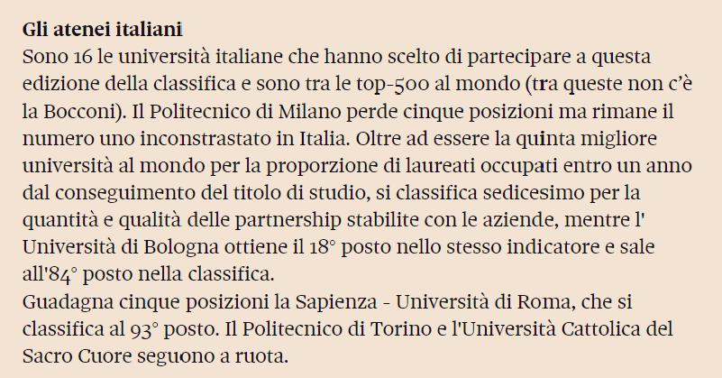 毕业就业排行_意大利留学|QS毕业生就业能力排名!