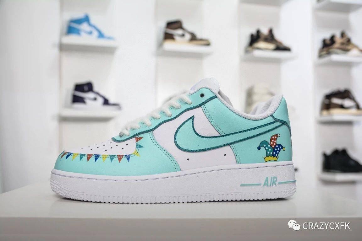 彩色游乐园涂鸦AirForce1AmusementPark空军一号薄荷蓝板鞋
