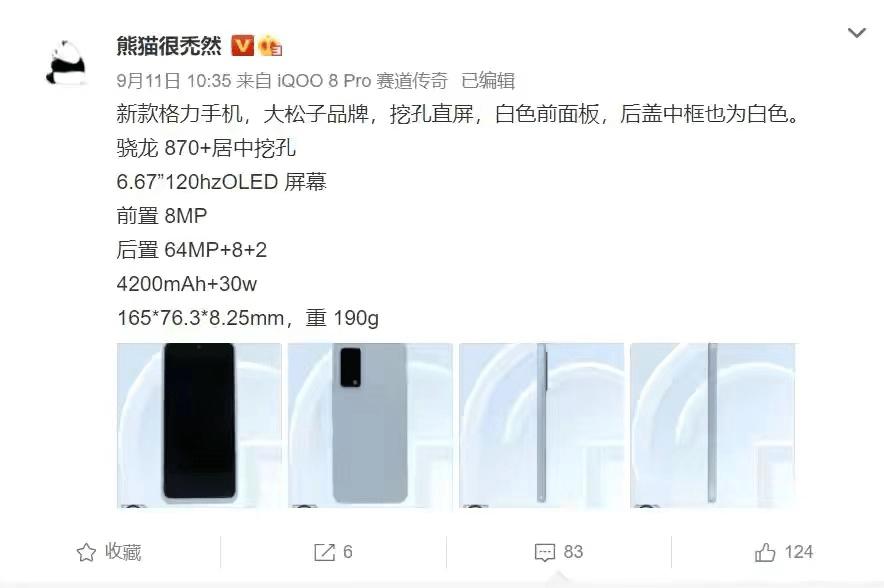 """格力5G新机曝光:售价有望""""1""""字头,骁龙870+白色面板"""