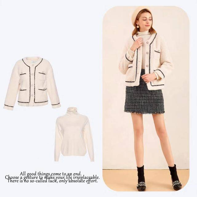 原创             白色的颗粒绒外套内搭方面可以选择一款白色的高领毛衣和外套相互印衬着
