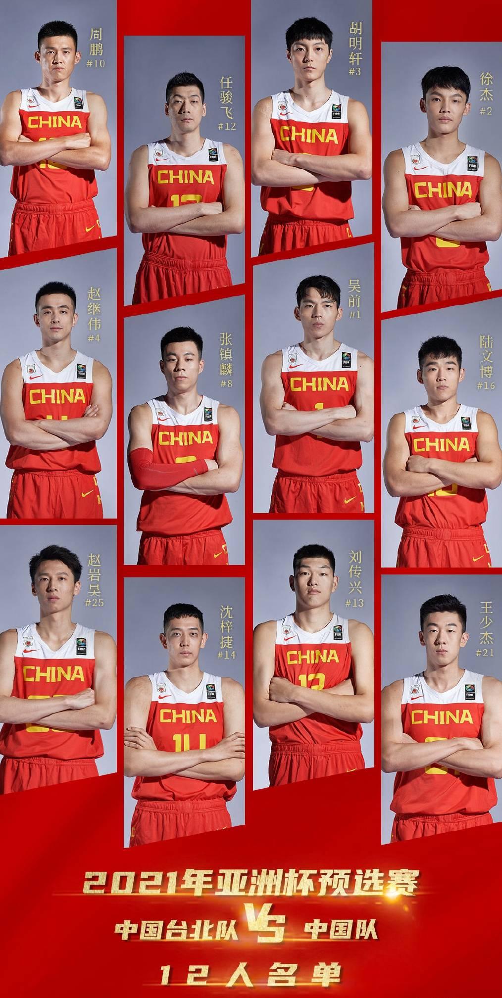 男篮战中国台北大名单稳定 沿用对阵日本时12人