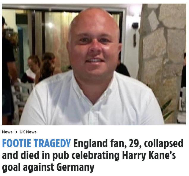 一位29岁球迷不雅英德大战时猝死球员排行 凯恩和切尔西发推慰问