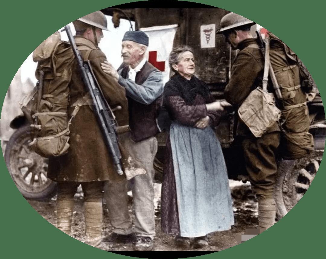 一战时期美军士兵和法国百姓