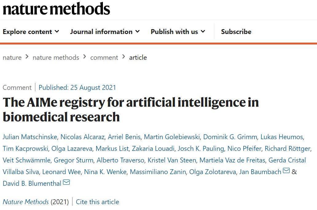 NATMETHODS|AIMe注冊表:生物醫學研究中AI模型的報
