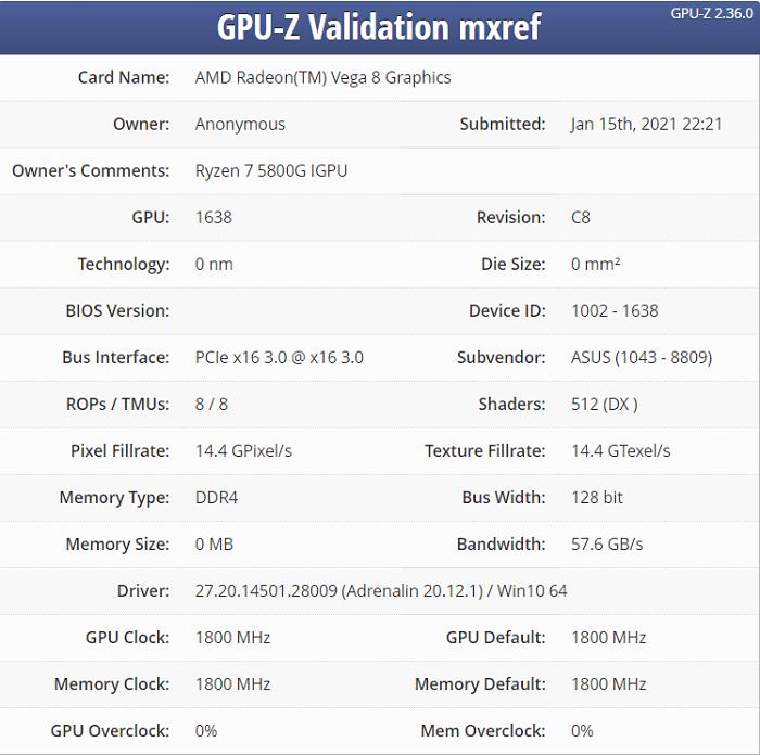 AMD Yes!锐龙R7-5800G曝光:堆料比英特尔狠