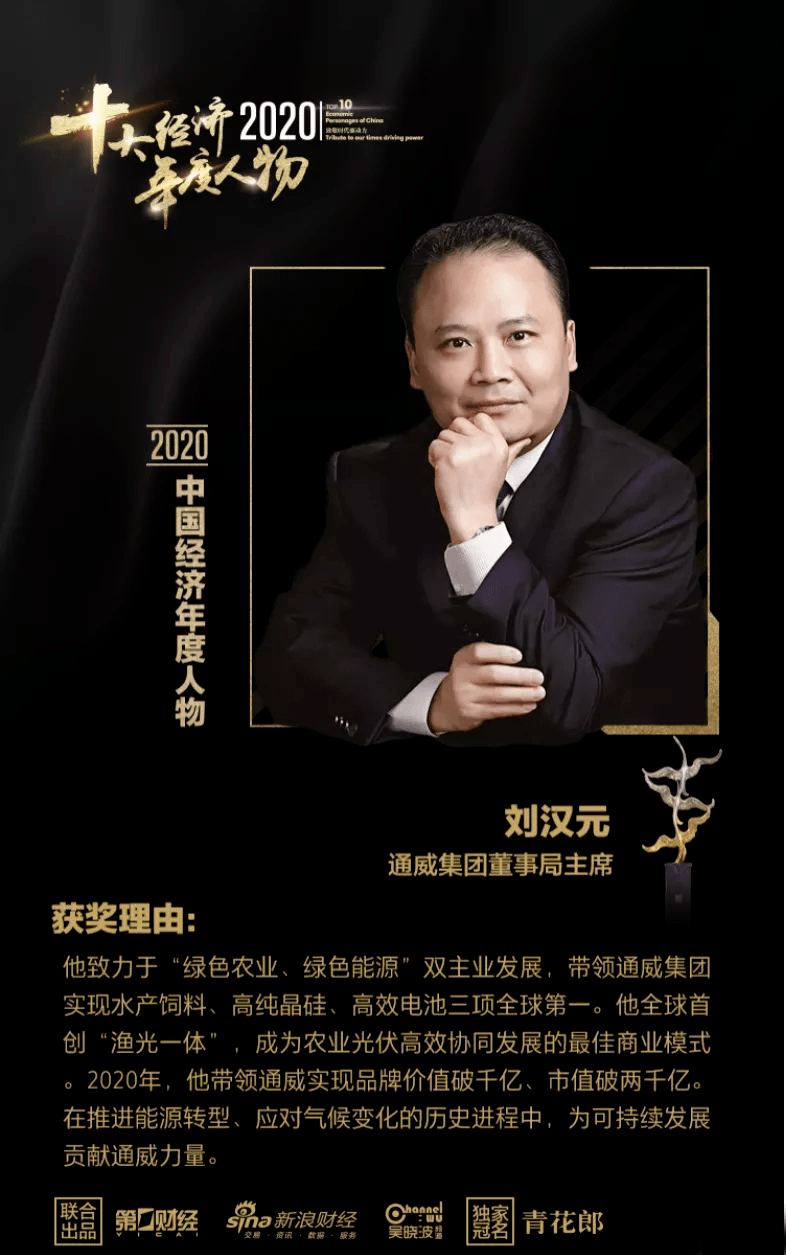 """同伟集团董事长刘汉元荣获""""2020年度十大经济风云人物"""""""