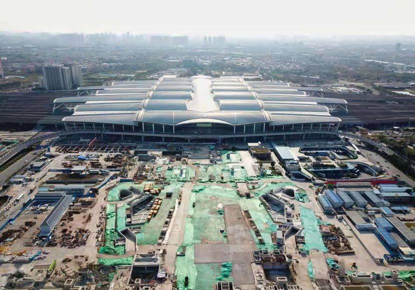 新年开工马力足,广州南站商务区工地一片繁忙