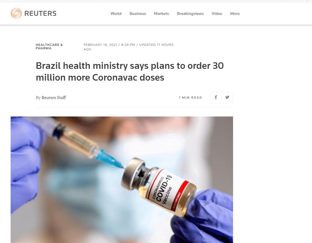 继续买中国的!巴西拟再增订3000万剂科兴疫苗