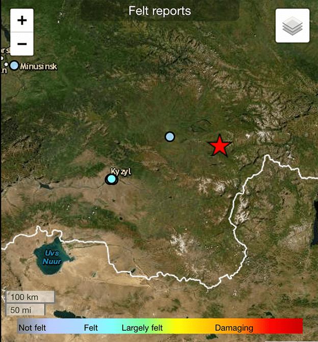 俄罗斯联邦图瓦共和国发生5.1级地震