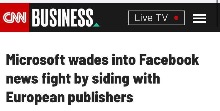 """加入争端!微软呼吁建立一种""""澳大利亚模式"""",允许像谷歌和脸书这样的巨头为新闻内容付费"""