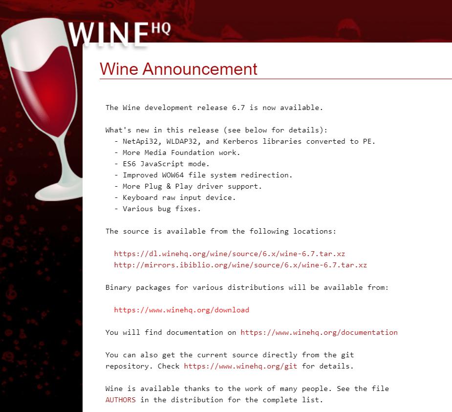 Wine 6.7 版本发布:新增更多媒体基本工作及ES6 JavaScript 模式