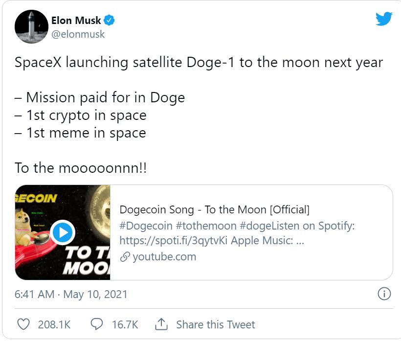 盛图注册再为狗狗币带货!马斯克宣布SpaceX接受狗狗币支付,明年向月球发射狗狗一号卫星