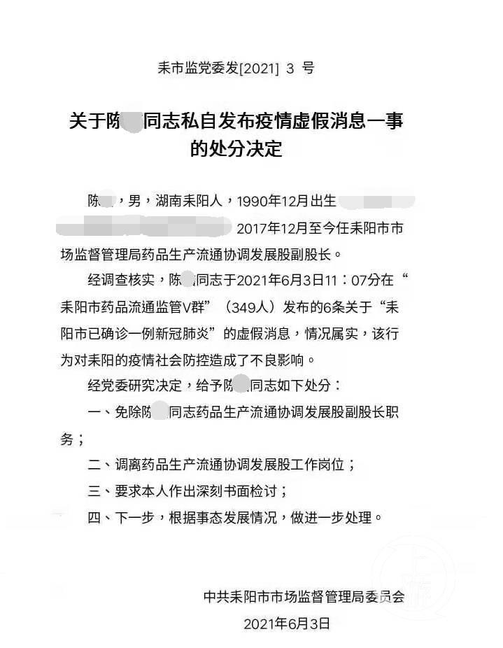 在微信群發布虛假疫情消息,湖南耒陽市監局一副股長被免職_藥品