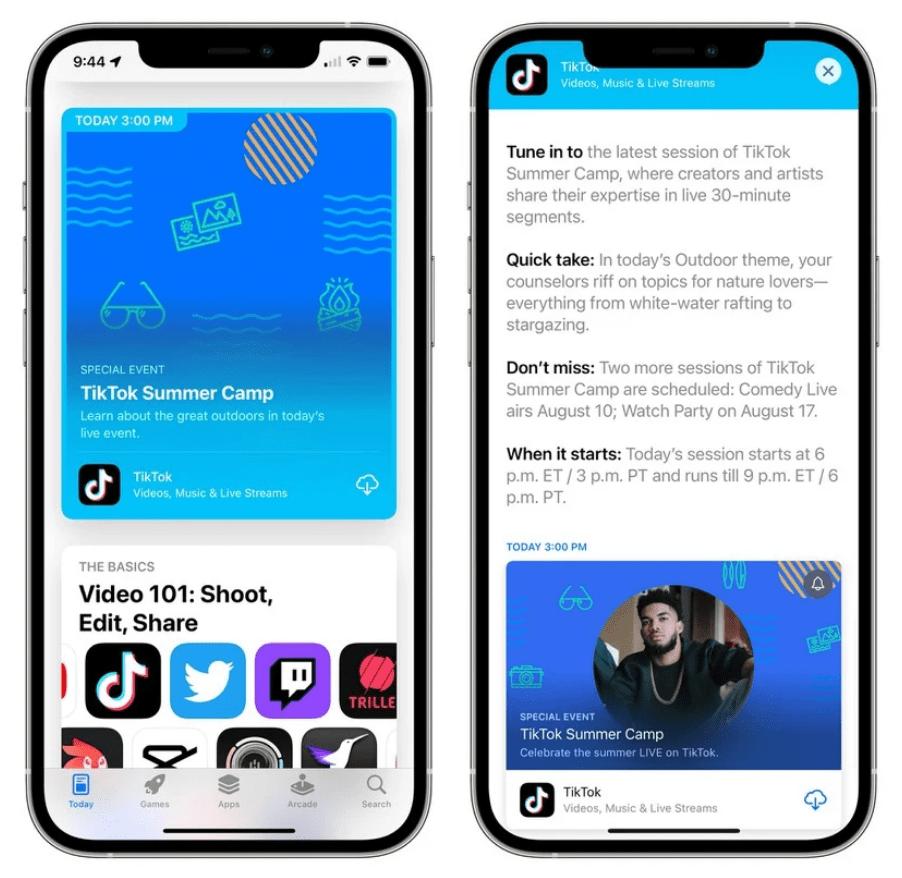 蘋果iOS 15開始突出顯示App Store活動事件 用戶可看到Tik Tok夏令營活動通知