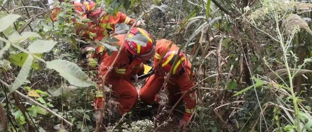 紧急!消防员抬着200多斤重的伤员走在崎岖的山路上……